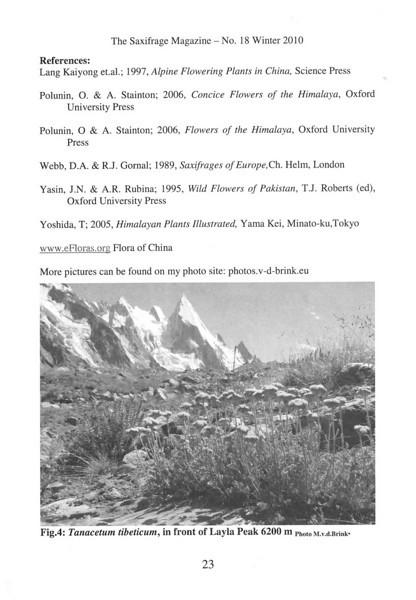 The mountain flora of the Karakorum ( Sax. Society Magazine, No 18, Winter 2010, p. 23)