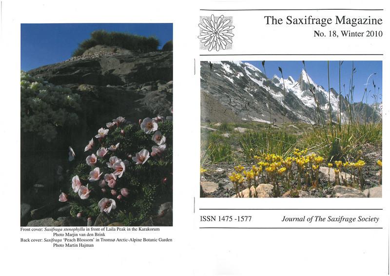 The mountain flora of the Karakorum ( Sax. Society Magazine, No 18, Winter 2010, frontpage)