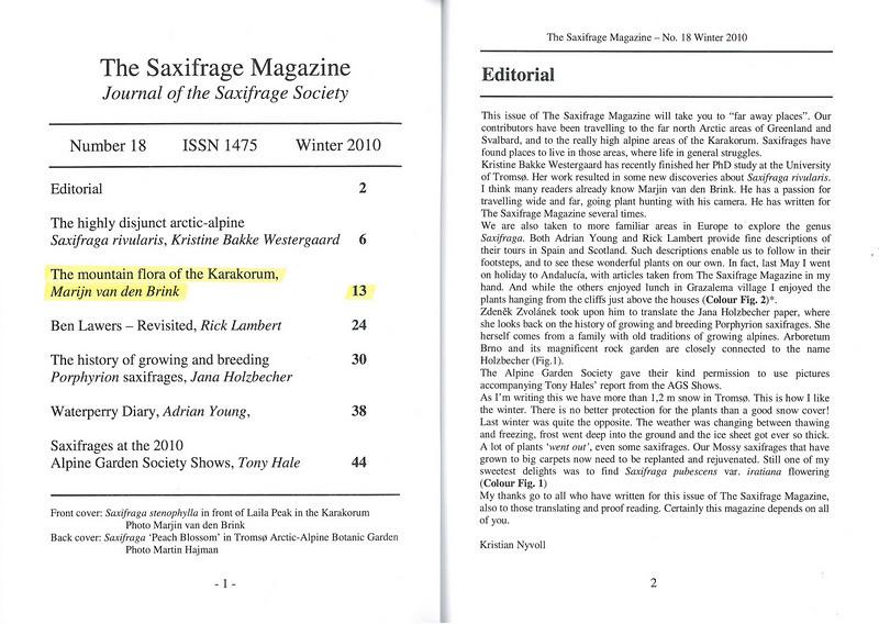 The mountain flora of the Karakorum ( Sax. Society Magazine, No 18, Winter 2010, p. 1-2)