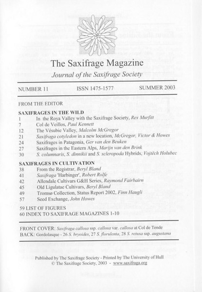 Saxifrages of the Eastern Alps (Sax. Society Magazine, No. 11, Summer 2003)