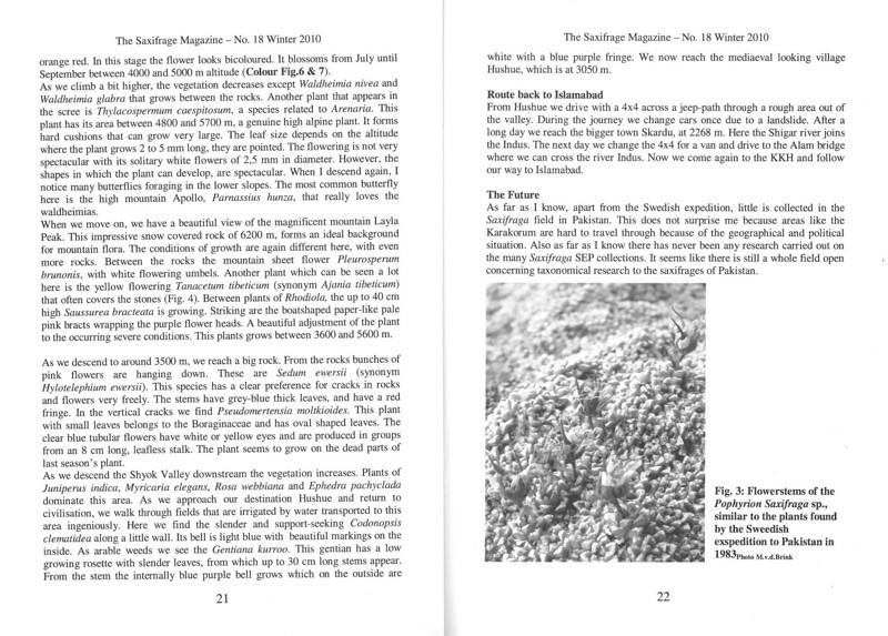 The mountain flora of the Karakorum ( Sax. Society Magazine, No 18, Winter 2010, p. 21-22)