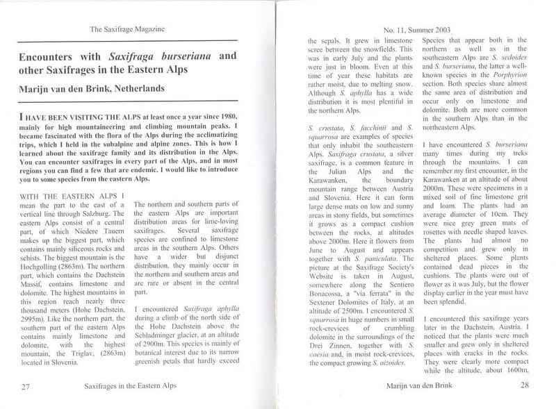 Saxifrages of the Eastern Alps (Sax. Society Magazine, No. 11, Summer 2003, p. 27–28)