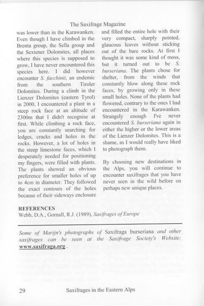 Saxifrages of the Eastern Alps (Sax.Society Magazine, No. 11, Summer 2003, p. 29)