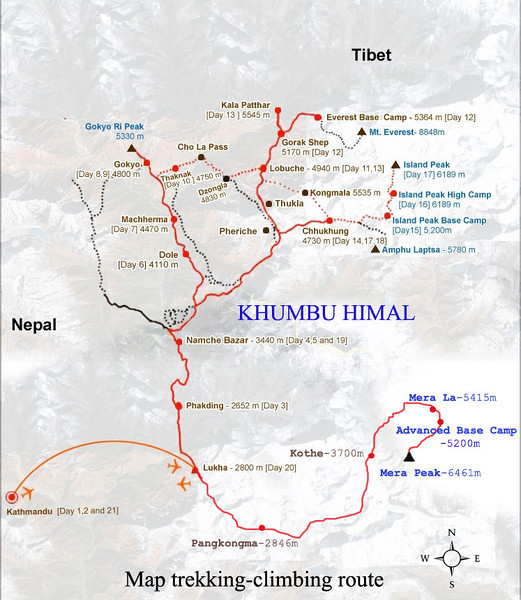 Map trekking-climbing route