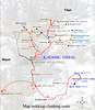 Map trekking-climbing route