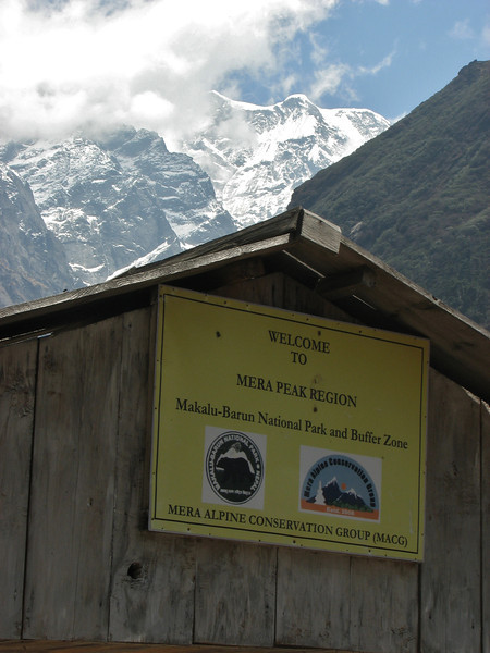 Gate of Makalu Barun Nat. Park.  Border near Camp Kothe 3700m