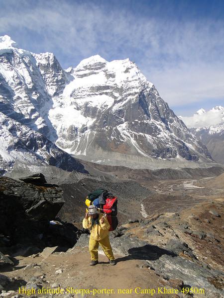 High altitude Sherpa-porter. near Camp Khare 4950m