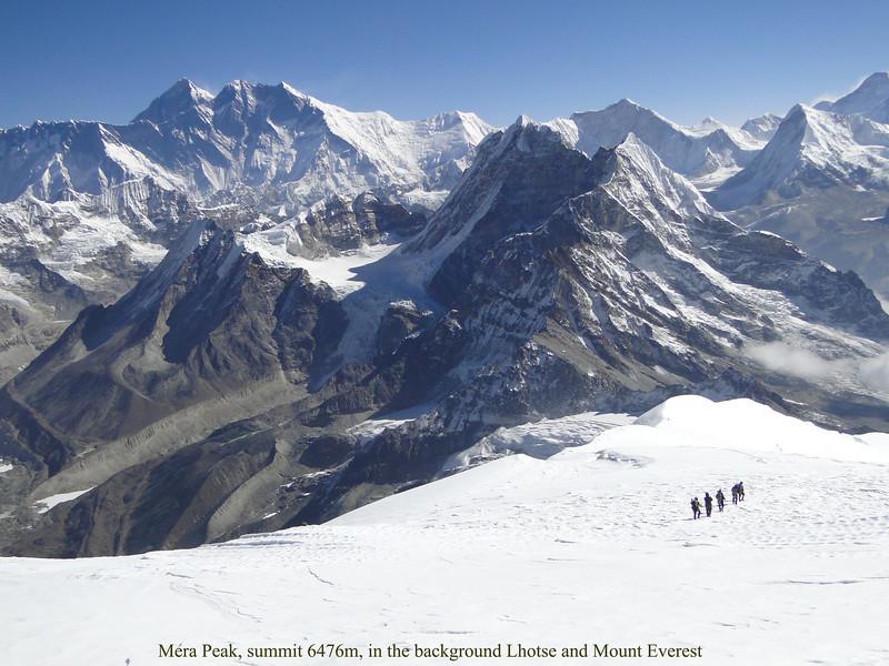 Mera Peak, summit 6476m, in the background Lhotse and Mount Everest