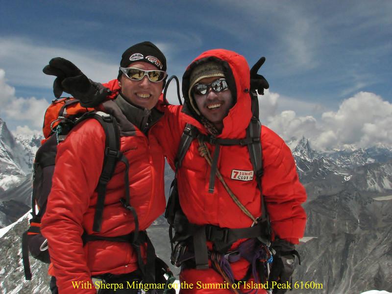 WiThe summit of Imja Tse, Island Peak 6160mth Sherpa Mingmar on the Summit of Island Peak 6160m
