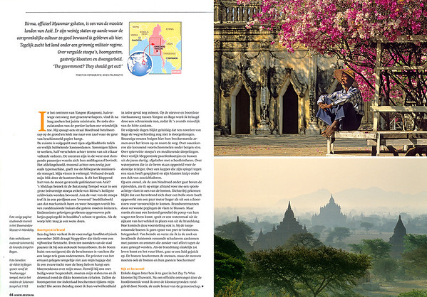 Spread 2.  Top: In the courtyard of Bagan's Ananda Temple a gardener is taking a rest under a bougainvillea. Below: The Bagan plain in morning mist.