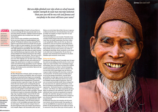 Spread 4.  Monk in the monastery of Pakhangyi, on the west bank of the Irrawaddy River.