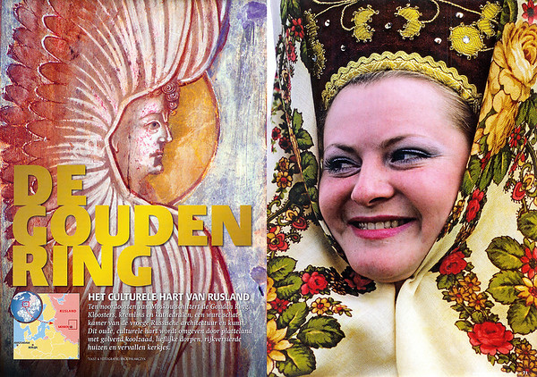 Spread 1.  Left: A six-winged angel guards the interior of the 17th century Gate-Church of the Resurrection in the kremlin of Rostov-Veliky. Right: At Suzdal a girl is wearing a kokoshnik (traditional high cap) covered by a namitka (headkerchief) during Troitsa (Whit Sunday) festivities.