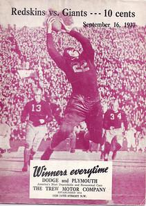 September 16, 1937 Redskins vs. Giants