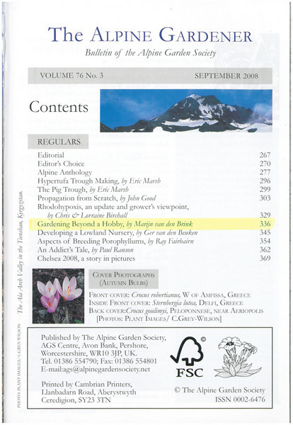 Content: Gardening beyond a hobby (AGS bulletin September 2008)