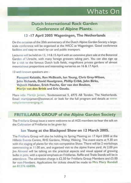 Dutch International Rock Garden Conference of Alpine Plants 2005 (AGS bulletin)