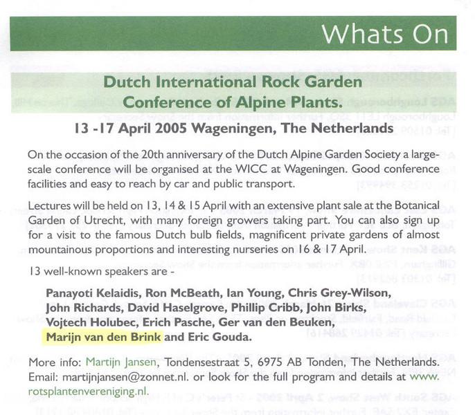 Dutch International Rock Garden Conference 13-17 April 2005 (nrv conference1 2005 Wageningen Netherlands)