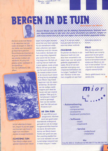 "article: Mountains in the garden (TLE schoolmagazine ""Precies"" November 1997)"