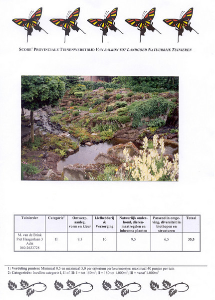 jury results, second prize of the North Brabant Province Garden Competition 2001 (KMTP and VELT)