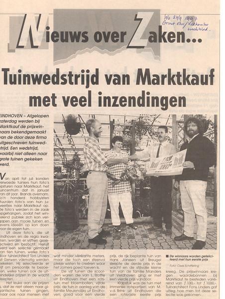 first price of the Garden Competition 1997, (1000 guilders), Marktkauf Eindhoven