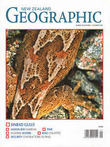 The November 2007 issue of NZ Geographic contains Rod and Tony Jewell's cover story on the Remarkable 'Lost World' of Sinbad Gully