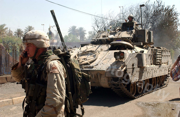 American solders secure the center of Baghdad, Iraq.