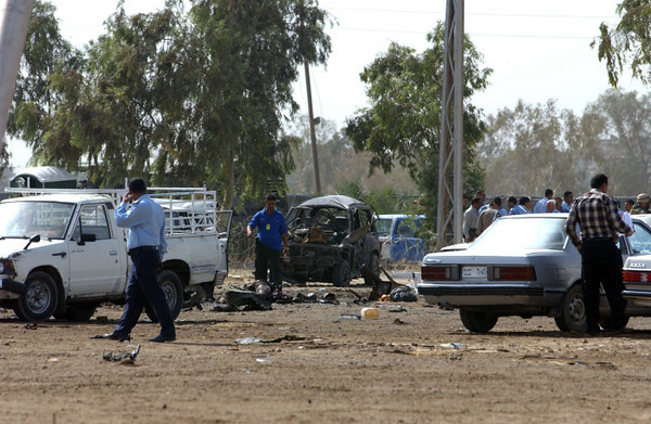 A car bombing in front of the American Embassy in Iraq.