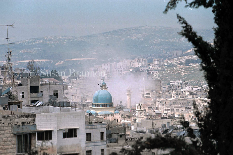 F-16 flies over Nablus City, West Bank bombing near the city center Mosque.