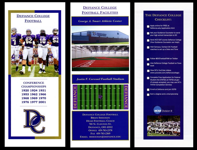 2012-08-30 Defiance College Football Brochure