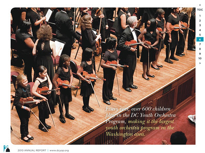 2010 Annual Report: photo taken of young violinists during the DC Youth Orchestra Program's 50th Anniversary Celebration at the Kennedy Center, Washington DC