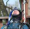 Nothing like enjoying a freshwater shower after a dive! Mark Verdecia rinsing off.