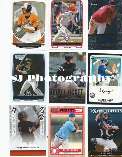 Assorted baseball card photographs