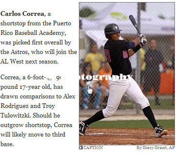 Carlos Correa, top MLB draft pick, for the Houston Astros.