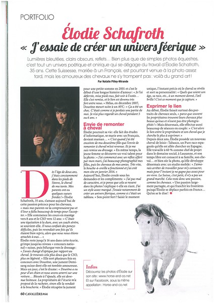 Interview dans le CAVALIERE MAGAZINE