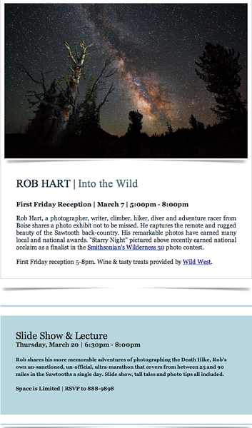 Gallery Opening and Slide Presentation, Finer Frames - Eagle, Idaho  March 2014