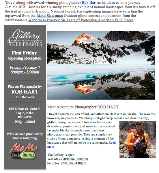 Gallery Show - Finer Frames, Eagle Idaho. February 2014