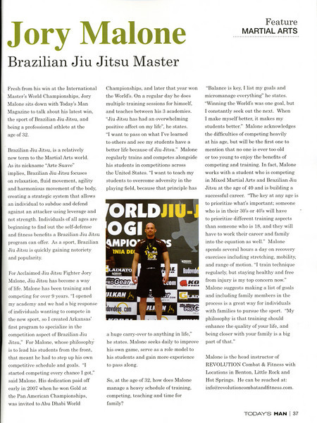 This was a special feature on Jory in a Local Magazine. <br /> The article is about his win at the 1st International Masters & Seniors World No Gi Championships. Jory also took 3rd at in the Adult Brown Belt Division.