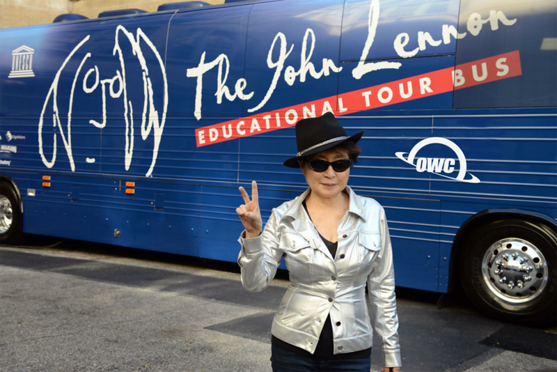 Yoko Ono with The Lennon Bus