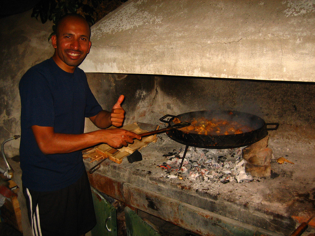 Preparing my curry in the place for Argentine assados (bbq's).