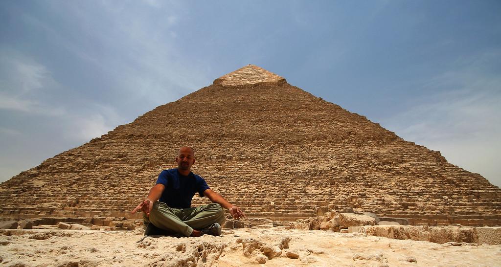 At the Pyramids of Giza, Egypt.