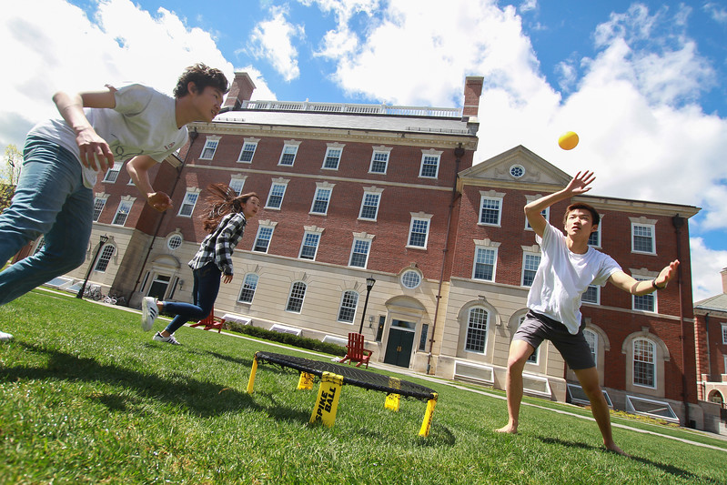 Spontaneous games of spikeball and Frisbee dot the campus quads on nice days. Everyone is welcome to join in.
