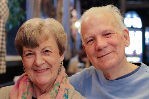 Eating out in Munich with Mom and Pop. Love these two!