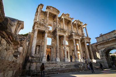 Close up view of the famous Library in the antique city of Ephesus