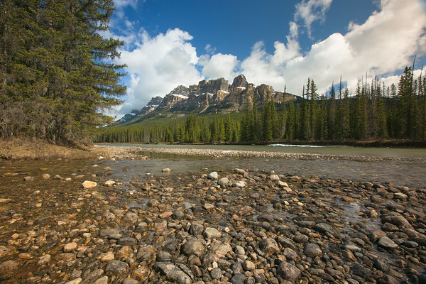Castle Mountain Cliffs from Bow River