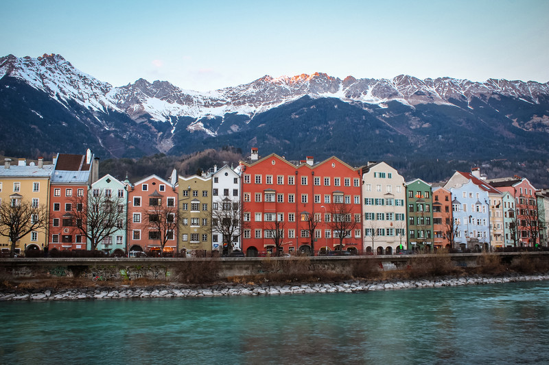 Famous view of colorful row houses on the Still River in Innsbruck, Austria.