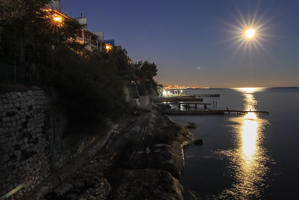 Full moon over the Marmara shoreline