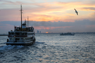 View of sunset on the Marmara Sea from a ferryboat