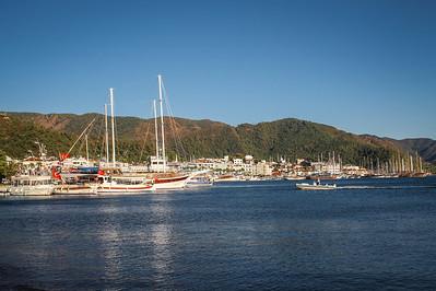 The harbor of Marmaris on the Mediterranean Coast of Southwest Turkey.