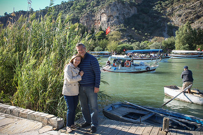 Jeff and I, standing by the Dalyan Çayı River, famous for the Lycian rock tombs carved in the cliffs.