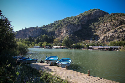 The fastest way to reach the ruins in Dalyan are by boat. Local fisherman cash in on the occasional passenger.