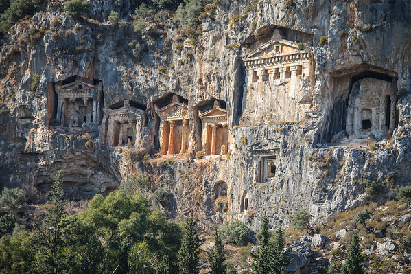 Rock tombs carved in the cliffs of Dalyan